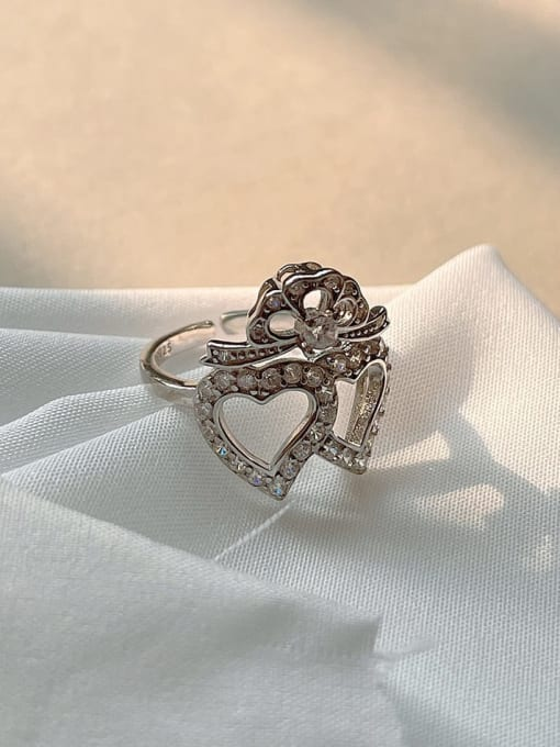Boomer Cat 925 Sterling Silver Cubic Zirconia Geometric Vintage Band Ring