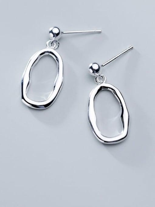 Rosh 925 Sterling Silver Minimalist Hollow Geometric  Drop Earring
