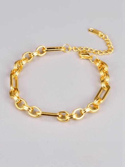 A TEEM Titanium Steel Geometric Vintage Hollow Chain Link Bracelet 1