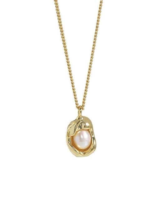 18K gold 925 Sterling Silver Imitation Pearl Irregular Vintage Necklace