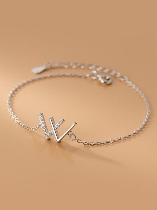Rosh 925 Sterling Silver Rhinestone Letter Minimalist Link Bracelet 3
