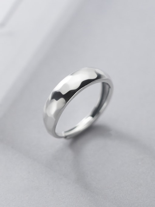 Rosh 925 Sterling Silver Smooth Irregular Minimalist Band Ring 0