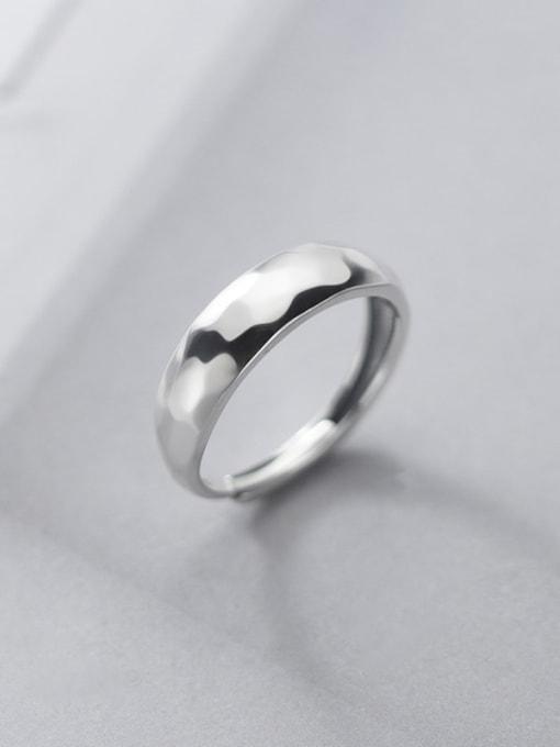 Rosh 925 Sterling Silver Smooth Irregular Minimalist Band Ring