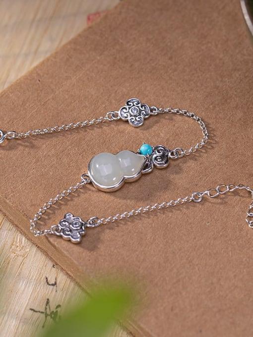 DEER 925 Sterling Silver Jade Irregular Vintage Bracelet 3