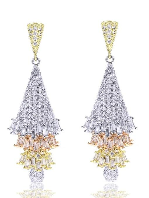 Tricolor electroplating Brass Cubic Zirconia Tree Luxury Drop Earring