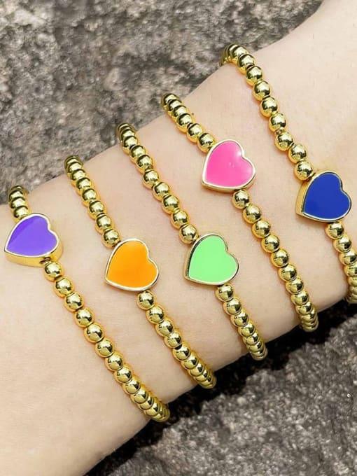 CC Brass Enamel Heart Minimalist Beaded Bracelet 4