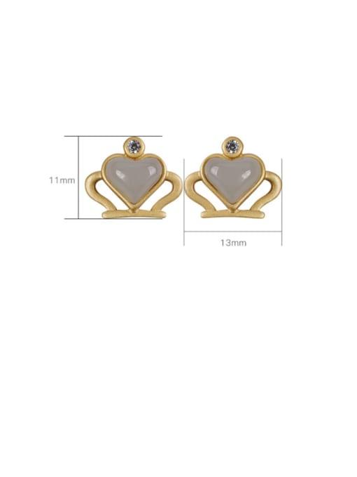 DEER 925 Sterling Silver Jade Crown Cute Stud Earring 4