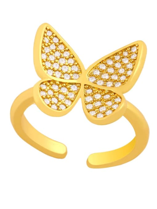 CC Brass Cubic Zirconia Butterfly Dainty Band Ring 0
