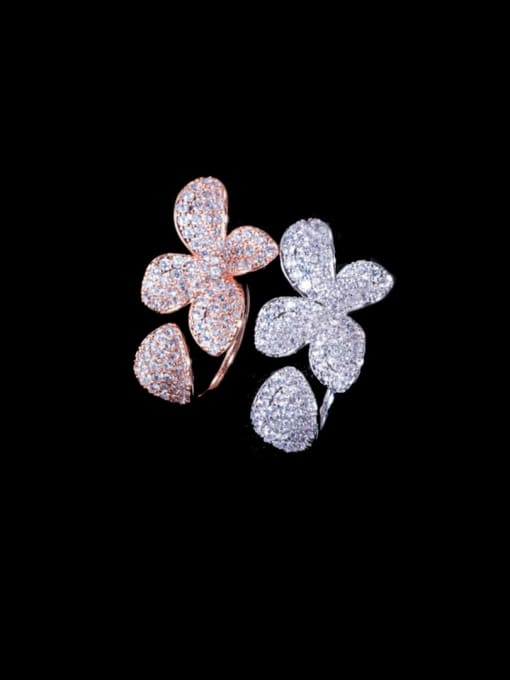 L.WIN Brass Cubic Zirconia Flower Luxury Statement Ring