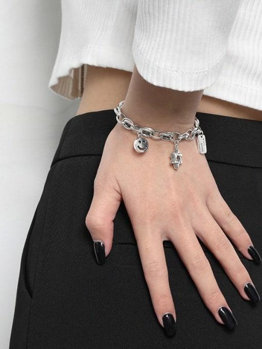 DAKA 925 Sterling Silver Smiley Chain Vintage  Link Bracelet 1