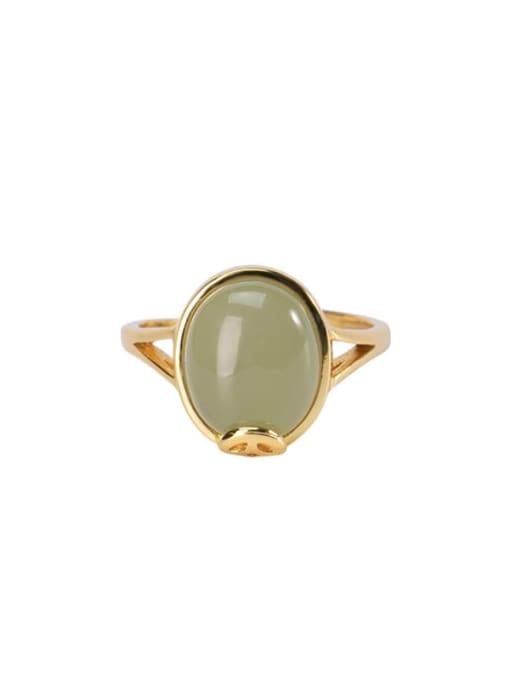 DEER 925 Sterling Silver Jade Oval Vintage Band Ring 0