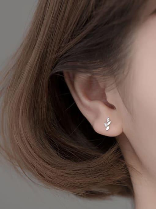 Rosh 925 Sterling Silver Cubic Zirconia Leaf Minimalist Stud Earring 2