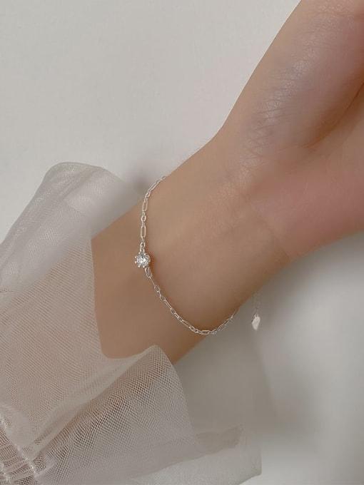 Rosh 925 Sterling Silver Rhinestone Round Minimalist Link Bracelet 1
