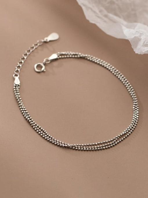 Rosh 925 Sterling Silver Bead Irregular Minimalist Strand Bracelet 2