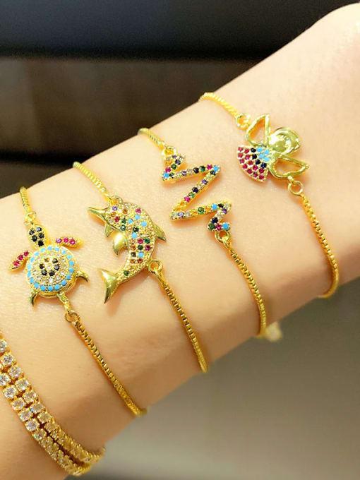CC Brass Cubic Zirconia Turtle Cute Link Bracelet 1