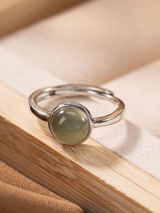 DEER 925 Sterling Silver Jade Round Vintage Band Ring 2
