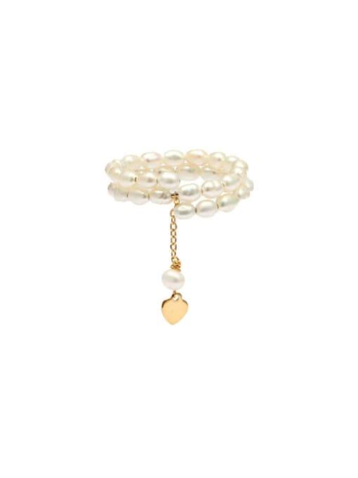 RAIN Brass Freshwater Pearl Geometric Minimalist Stackable Ring