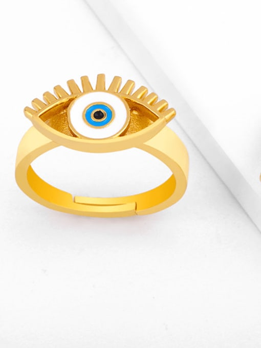 CC Brass Enamel Evil Eye Vintage Band Ring