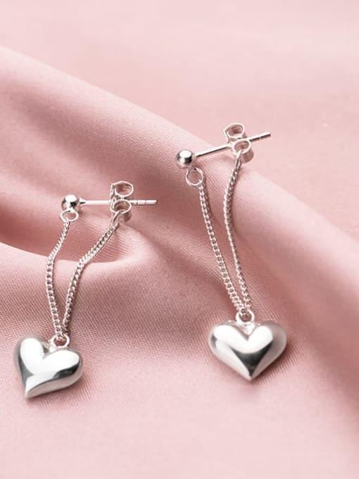 Rosh 925 Sterling Silver smooth Heart Minimalist Drop Earring 1