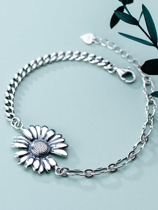 Rosh 925 Sterling Silver Rhinestone White Flower Vintage Link Bracelet