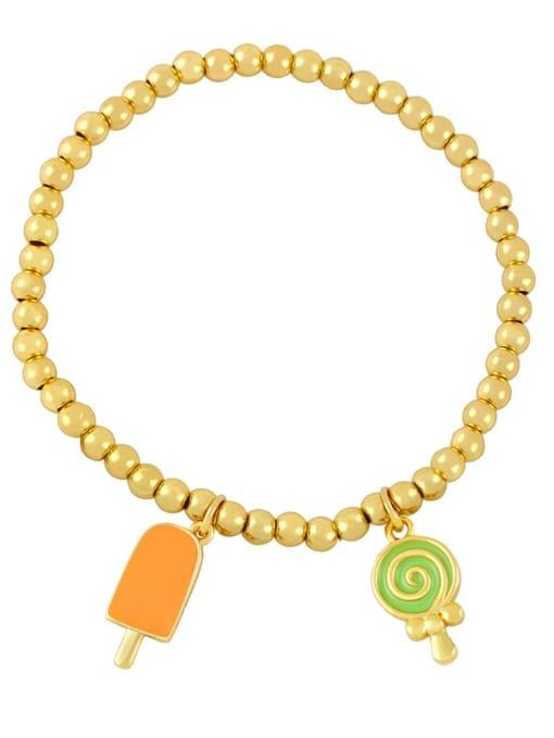 Orange green Brass Enamel Heart Vintage Beaded Bracelet