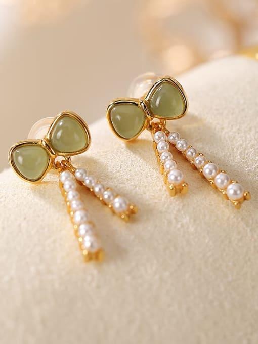 DEER 925 Sterling Silver Jade Butterfly Vintage Drop Earring 0