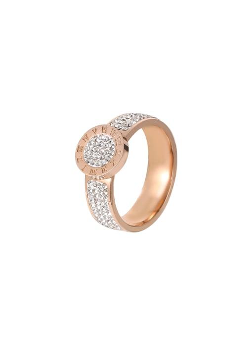 MIYA Titanium Steel Rhinestone Round Minimalist Band Ring 0