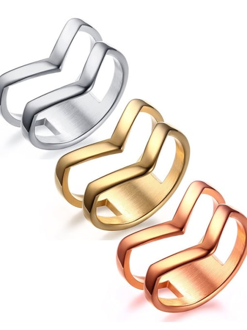 CONG Titanium Steel Geometric Minimalist Band Ring 0