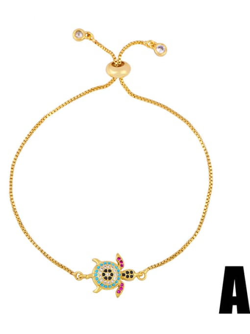 CC Brass Cubic Zirconia Turtle Cute Link Bracelet