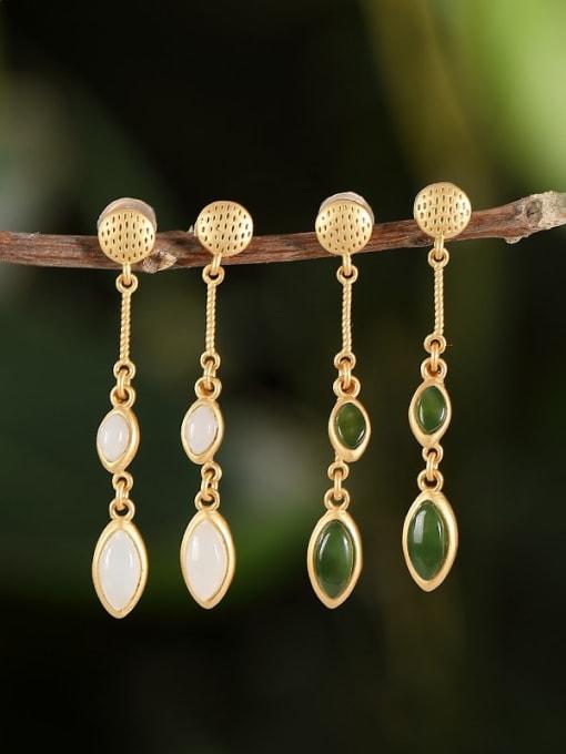 DEER 925 Sterling Silver Jade Geometric Ethnic Drop Earring 0