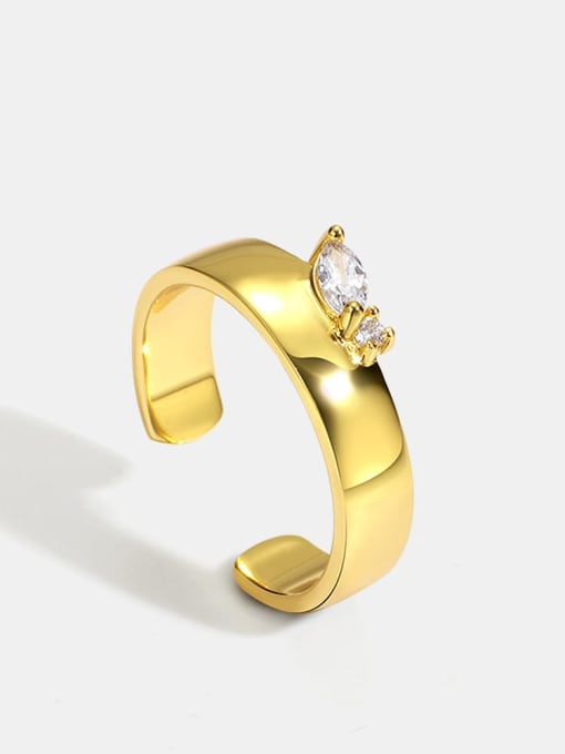 CHARME Brass Cubic Zirconia Geometric Minimalist Band Ring