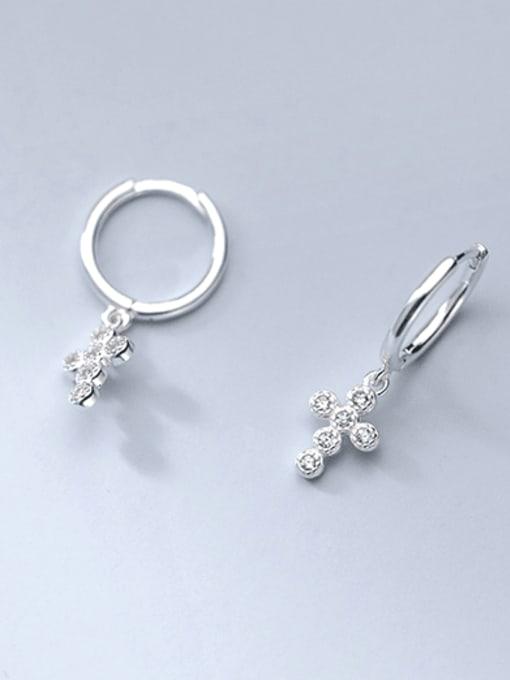 silver 925 Sterling Silver Cubic Zirconia Cross Minimalist Huggie Earring