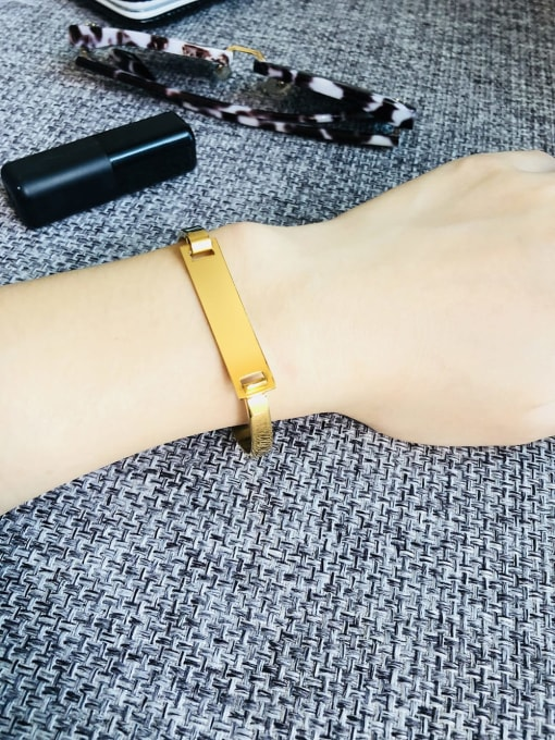 CONG Stainless steel Smooth Geometric Minimalist Band Bangle 1