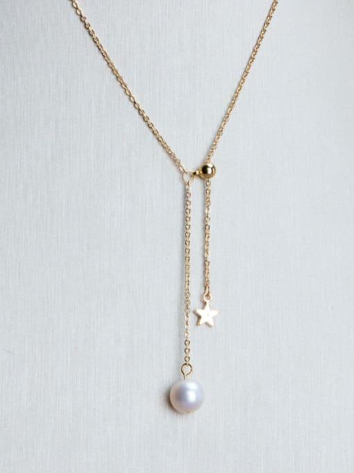 RAIN Brass Freshwater Pearl Tassel Minimalist Lariat Necklace
