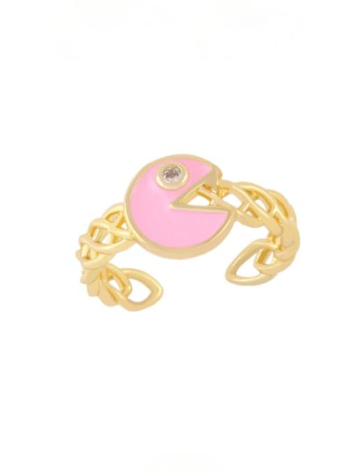 Pink Brass Enamel Geometric Vintage Band Ring