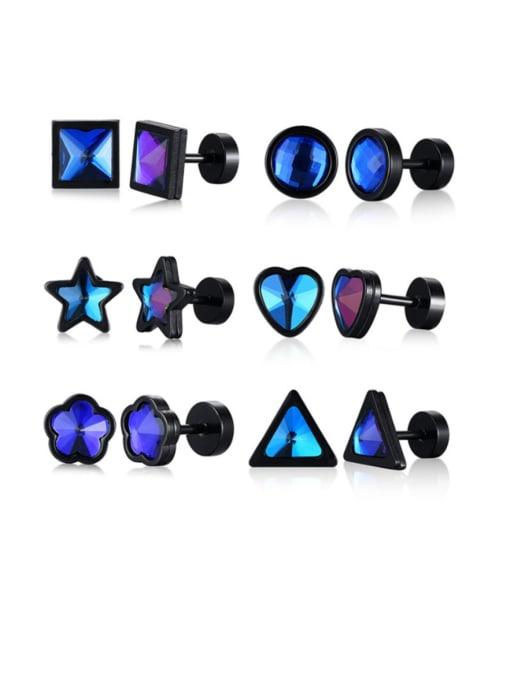 CONG Titanium Steel Glass Stone Geometric Minimalist Stud Earring 0