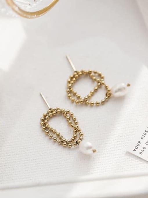 A TEEM Titanium Steel Freshwater Pearl Round Bead Minimalist Drop Earring 2
