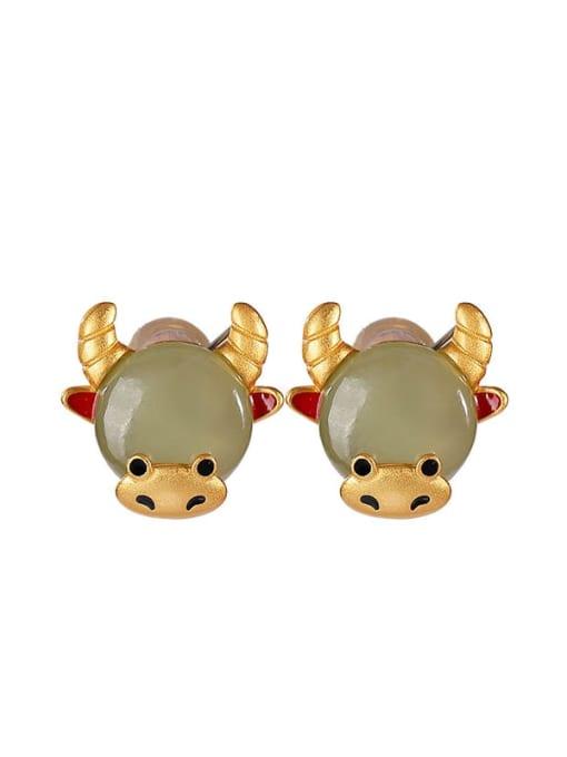 DEER 925 Sterling Silver Jade Zodiac Cute Stud Earring