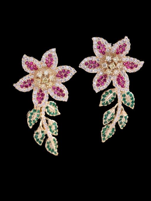 Luxu Brass Cubic Zirconia Flower Statement Cluster Earring