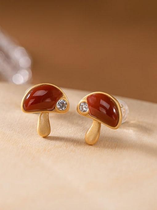 DEER 925 Sterling Silver Carnelian Mushroom Cute Stud Earring 0