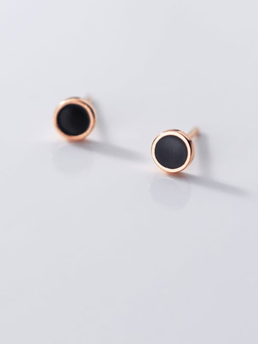 Rosh 925 Sterling Silver Enamel Round Minimalist Stud Earring