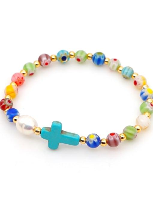 B B200028C Stainless steel Glass Bead Multi Color Cross Bohemia Beaded Bracelet