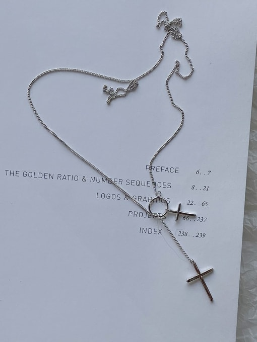 Boomer Cat 925 Sterling Silver Cross Minimalist Lariat Necklace 2