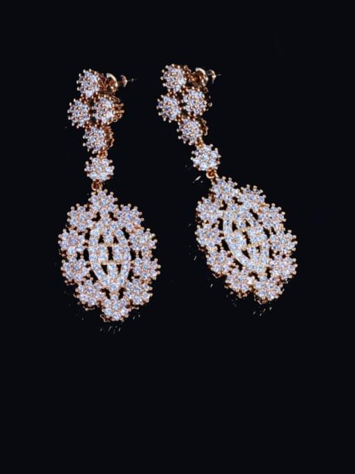 Champagne gold Brass Cubic Zirconia Geometric Luxury Cluster Earring