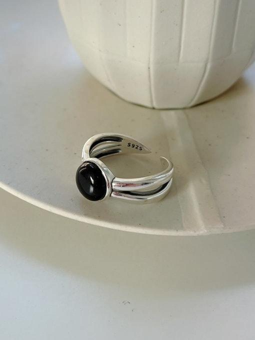 Boomer Cat 925 Sterling Silver Black Agate  Irregular Vintage Band Ring 2