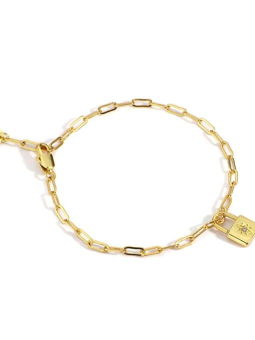 Gold Brass Cubic Zirconia Locket Minimalist Bracelet