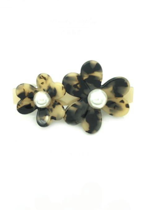 Rice with cap Cellulose Acetate Minimalist Flower Zinc Alloy Spring clip Hair Barrette