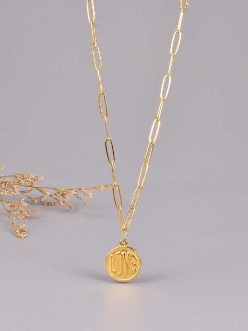 A TEEM Titanium Steel Message Minimalist  Round Pendant Necklace 2