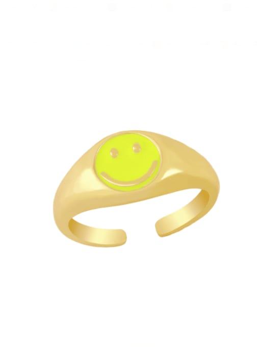 yellow Brass Enamel Smiley Hip Hop Band Ring