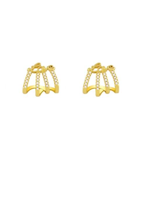 CC Brass Cubic Zirconia Tassel Hip Hop Single Earring 2